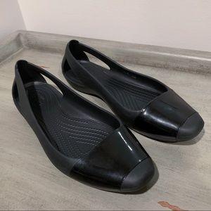 Crocs Black Slip On Ballet Flat Dress Shoes